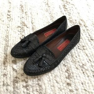 Vintage Cole Haan black woven tassel loafers 8.5 B